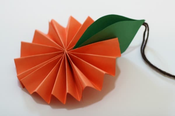 Paper Orange with Leaves