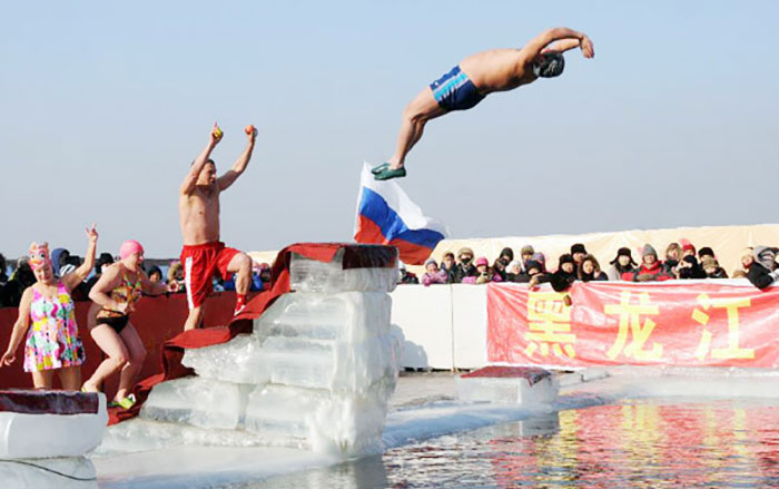 Swimming at Harbin Ice Festival