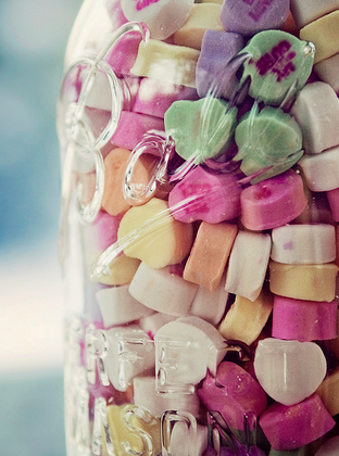Glass jar of heart sweets
