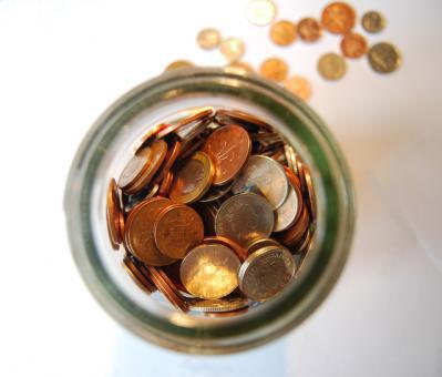 Loose change in jar