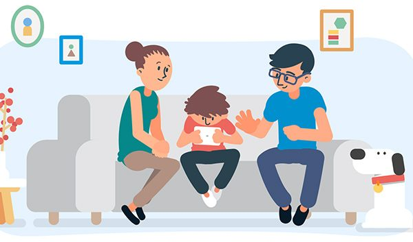 Illustration of family on couch with tablet