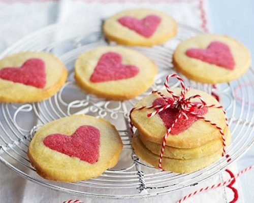 Biscuits with pink hearts on