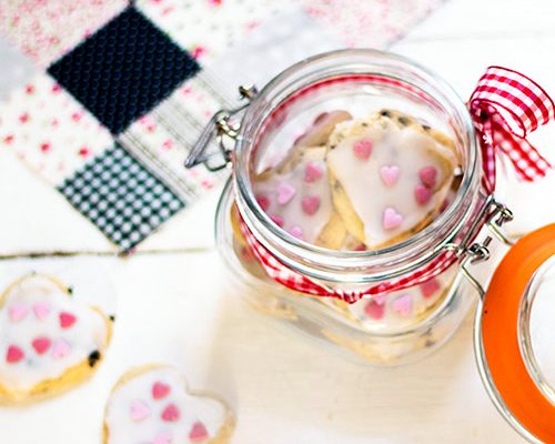 Jar of heart shaped cookies