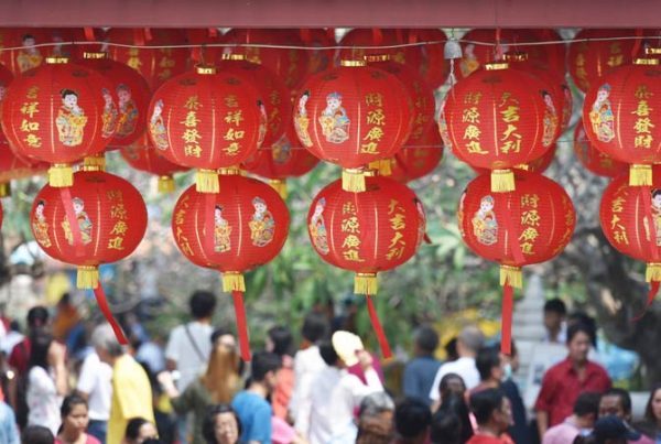 Chinese lanterns in market