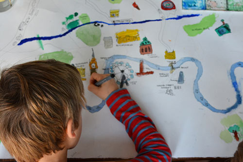 Child mapping his local area